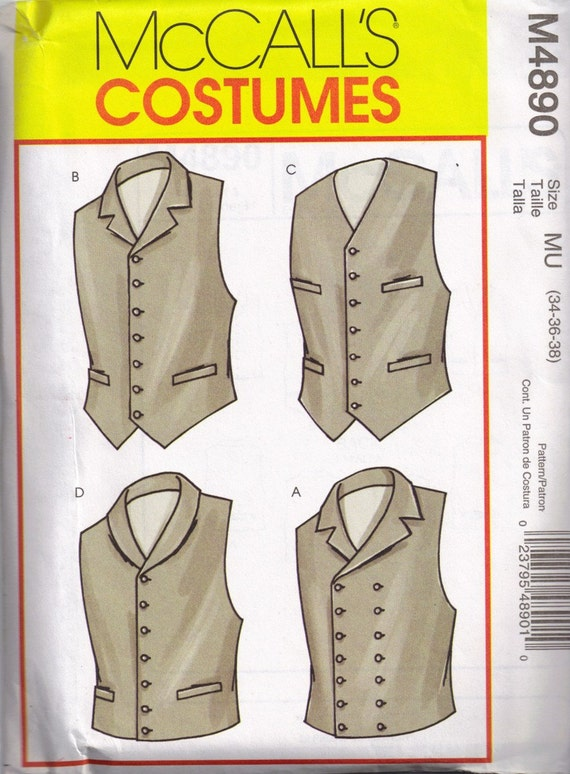 Historical Costume Mens Vest Mccalls 4890 Sewing Pattern Size