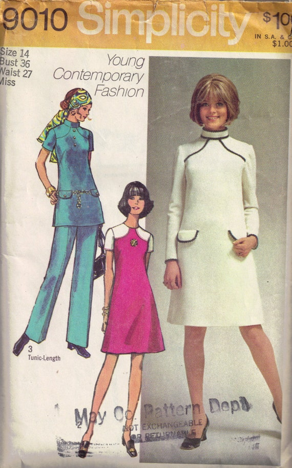 Vintage 1970s Gogo Dress Tunic And Pants Sewing By