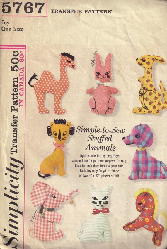Vintage 1960s Simplicity 5767 Stuffed Animal  Embroidery Transfer Pattern, Camel, Bunny, Dog, Horse, Cat, Elephant