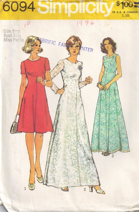Vintage 1970s simplicity 6094 Maxi Dress with round neckline Sewing Pattern  Size  Petite 8 Bust 31.5