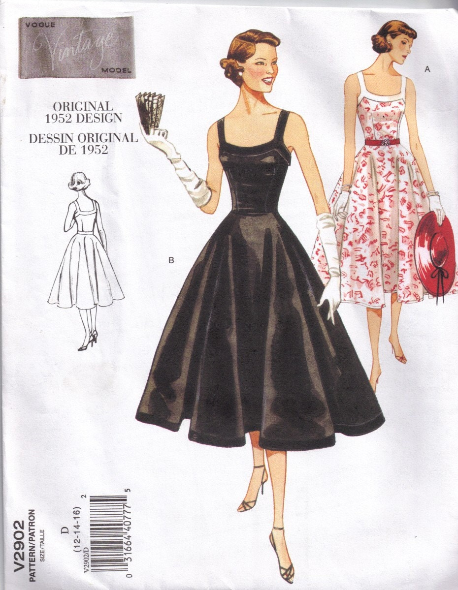 1950s Vintage Styled Circular Skirt Dress Sewing Pattern Vogue