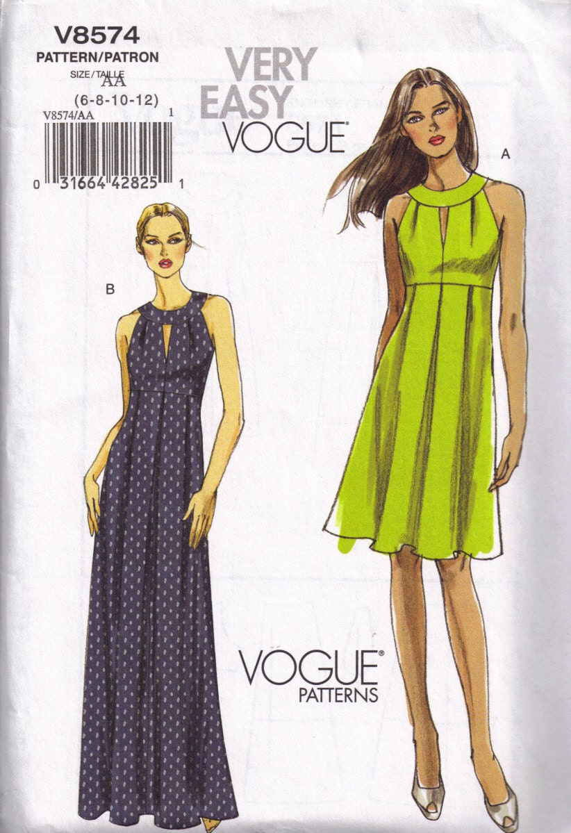 Vogue 8574 Evening Maxi Dress Sewing Pattern Size 6 8 10 12