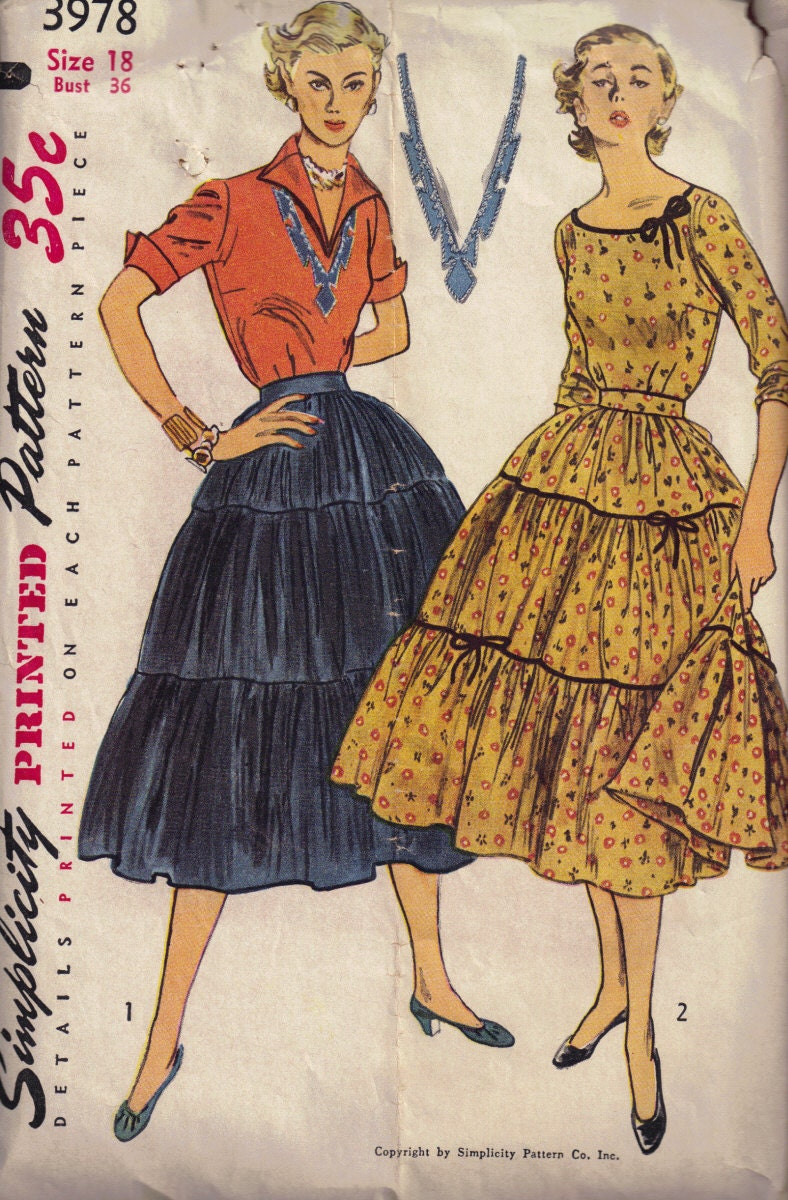 3978 Best Crazy Cool Nails Images On Pinterest: Vintage 1950s Simplicity 3978 Blouse And Broomstick Skirt