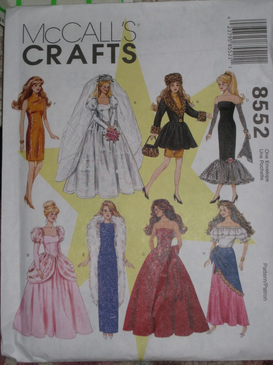 Barbie doll wedding dress clothes sewing pattern mccalls 8552 for Wedding dress sewing patterns free