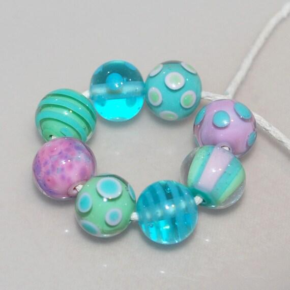 Sweet Little Rounds Handmade Lampwork Glass Bead Set