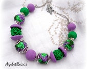 Polymer Clay Beads Necklace - Purple and Green