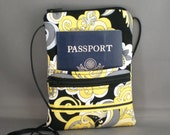 Sling Bag - Small Mini Purse - Passport Purse - Wallet on a String - Mod Swirls - Paisley - Yellow, Black, Gray