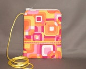 Wallet on a String - Sling Bag - Small Mini Bag Purse - Zipper Pouch - Funky Mod Retro - Hot Pink - Yellow - Orange