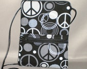 Passport Purse - Sling Bag - Small Mini Purse - Wallet on a String - Peace Signs - Retro - Black and White