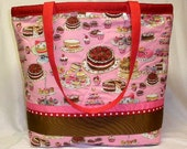 Large Reversible Tote Bag Purse - Tea Party - Red and White Dots - Two Distinct Looks - Washable Cotton Fabric