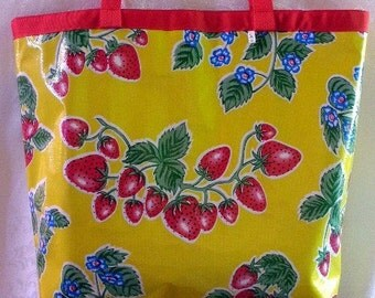 Oilcloth Tote Bag - Market Bag - Beach Bag - Reversible - STRAWBERRIES -  Red and White Gingham