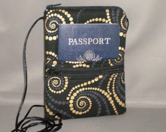 Sling Bag Purse - Passport Purse - Wallet on a String - Black and Bronze Swirling Dots