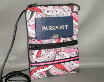 Passport Purse Wallet - Wallet on a String - Sling Bag - Pink - Gray - Black