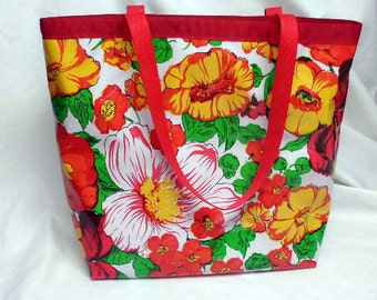 Oilcloth Tote Bag - Market Bag - Beach Bag - Reversible - HOT SUMMER FLORAL - Red and White Polka Dots - Water Resistant - Eco Friendly
