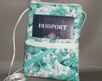 Passport Purse - BUTTERFLY - Wallet on a String - Sling Bag - Turquoise Silver