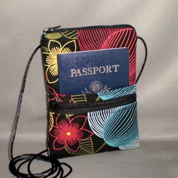 Special Order for Lynn Keen - Travel Bag - Passport Purse - Wallet on a String - Bold Retro Sunflowers - Tropical Floral