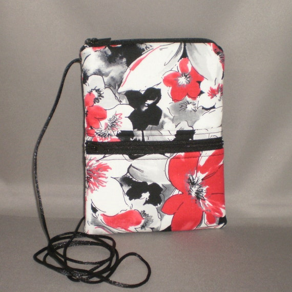 Passport Purse Wallet  - Travel Purse - Sling Bag - Small Mini Purse - Wallet on a String - Tropical Floral - Red, Gray, Black