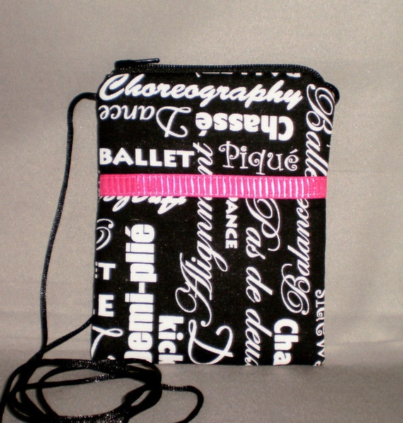 Sling Purse - Wallet on a String - Small Mini Bag Purse - Zipper Pouch - DANCE - Ballet - Black and White