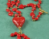 Handmade Red Hearts Necklace in Gold
