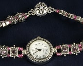 Pink Crystal and Silver Handmade Watch