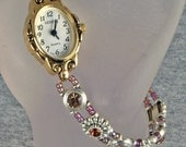 New Lower Price Warm Amber Bead and Gold Handmade Watch