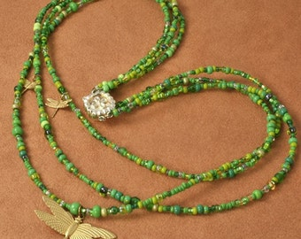 Garden Seed - Green Necklace with Dragonflies