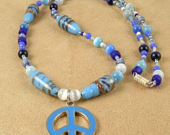Blue Peace Sign Beaded Necklace - BOHO, Hippie, Retro 60s, Vintage look