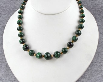 New Lower Price Green Malachite and Gold Bead Necklace - Green with Envy