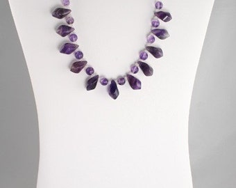 Natural Amethyst Bead Necklace - Let's Twist Again