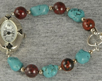 Handmade Watch Tumbled Turquoise Look with Silver Face