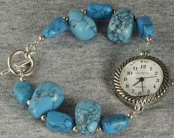 Handmade Watch Tumbled Turquoise Bead Look