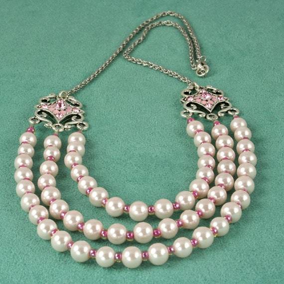 New Lower Price Faux Pink Pearl and Silver Chain Necklace - Pretty in Pink