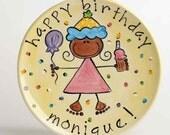 personalized happy birthday cake plate (girl)