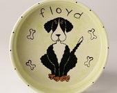 handpainted personalized ceramic large dog bowl