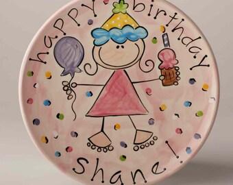 personalized ceramic girl's happy birthday cake plate