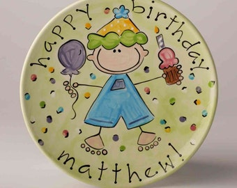 personalized happy birthday boy ceramic cake plate