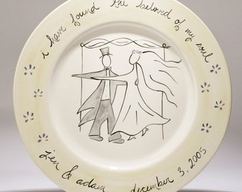 hand painted personalized wedding platter