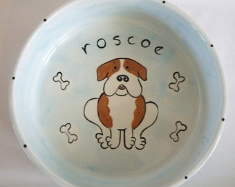 two bowls handpainted personalized ceramic large food and water bowls