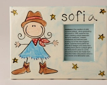 hand painted personalized cowgirl photo frame