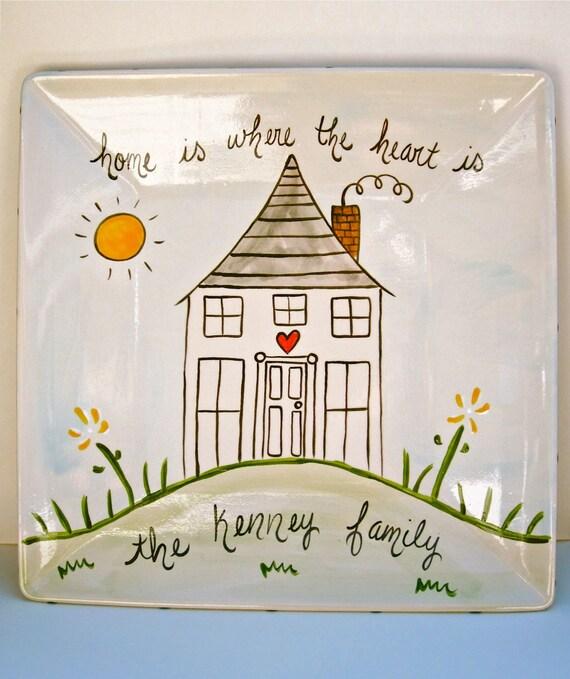 new home hand painted personalized custom ceramic housewarming platter