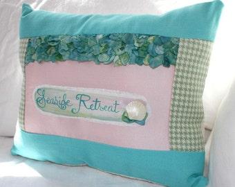seaside retreat hydrangea petal and sea shell hand-painted pillow