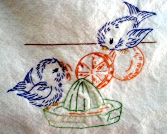 Vintage Hand Embroidery Alice Brooks 7017 Birds In By