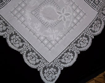 Vintage Large Tablecloth With Hand Embroidery and Lace