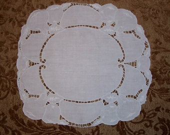 Vintage Fruit Motif Linen Doily with Hand Embroidery