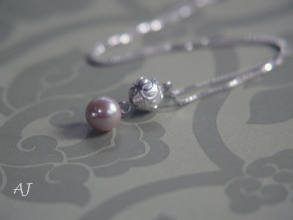 Sterling Silver Ball and Freshwater Pearl Necklace