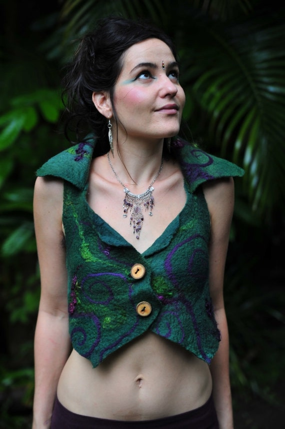 Felt Magical Pixie Vest With Swirls Mohair And Silk OOAK