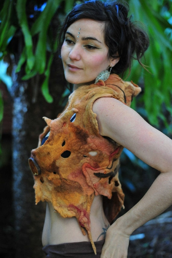 Felt Melted Holey Tree Of Shadows Pixie Woodland Vest OOAK