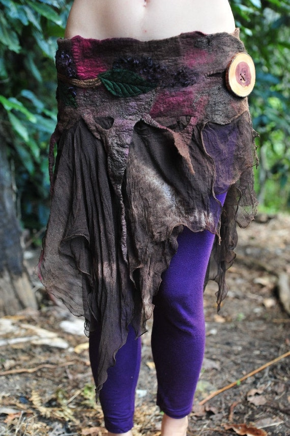 Felt Tree Roots Leaves And Branches Silk Fairy Belt Skirt OOAK