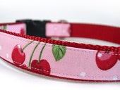 CHERRY BUBBLEGUM Pink and Red Dog Cat Collar