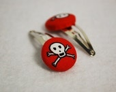 Bones - Skeleton Red Covered Button Snap Clips